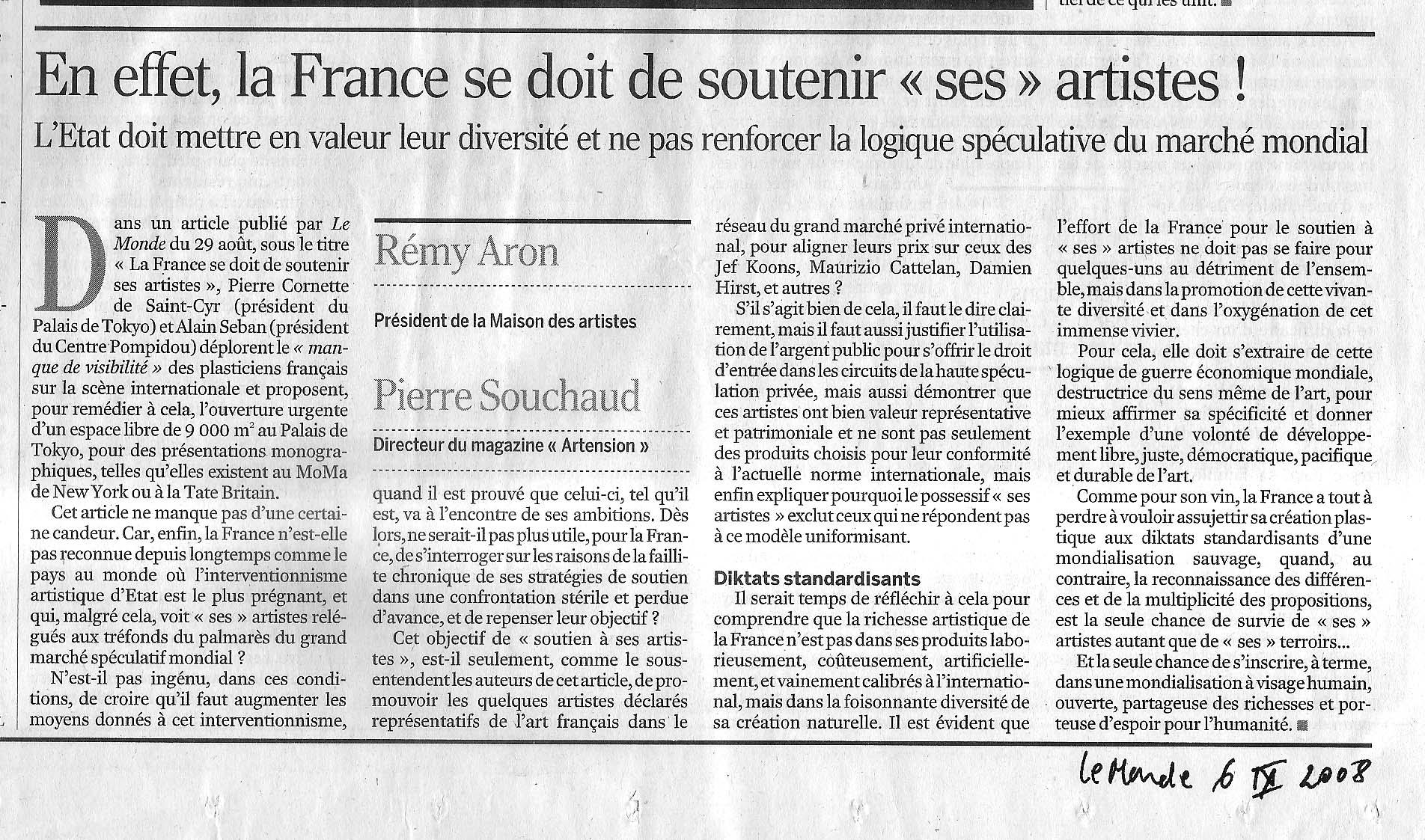 La france se doit de soutenir ses artistes la maison for Association maison des artistes