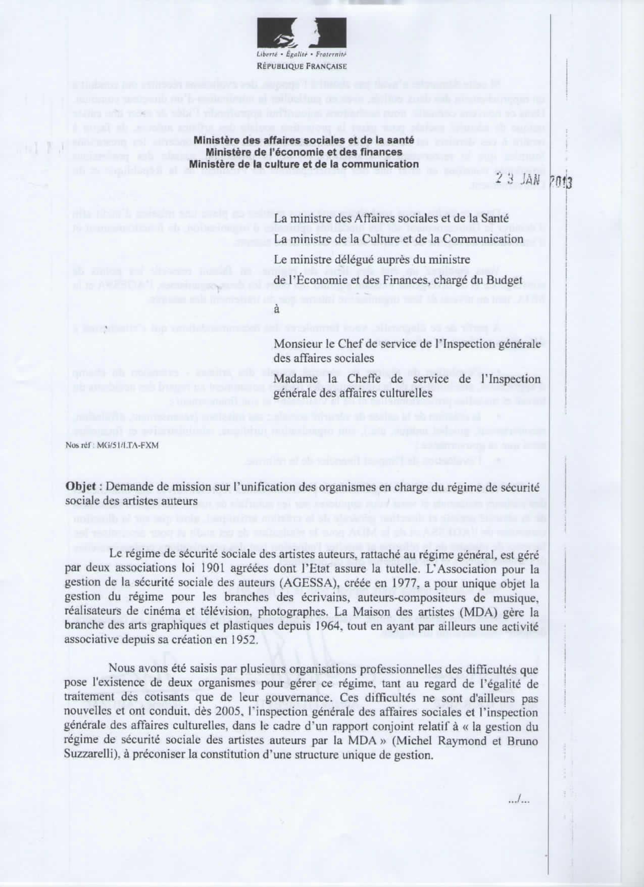 Important lettre des trois ministres affaires sociales for Agessa maison des artistes