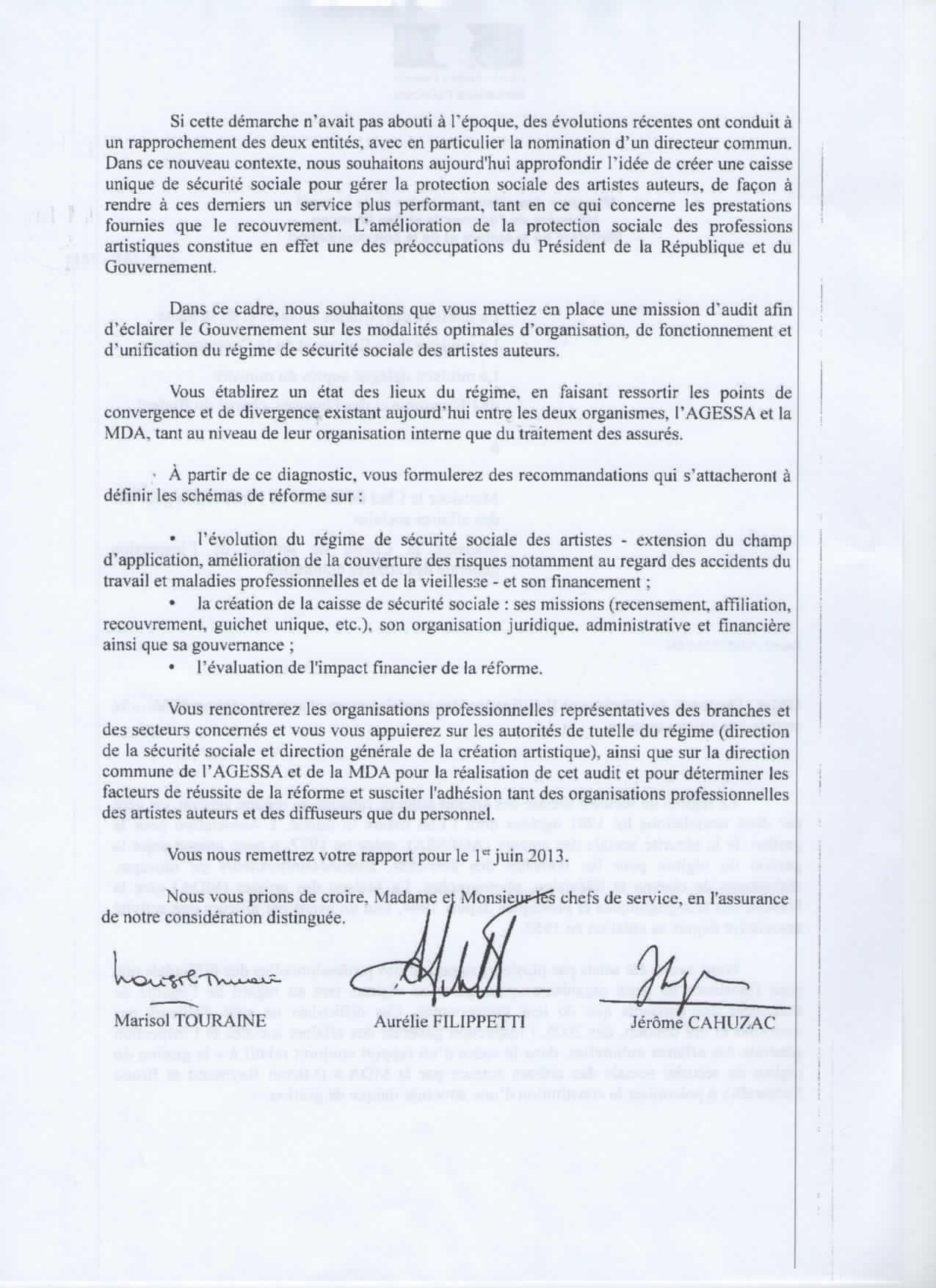 Important lettre des trois ministres affaires sociales for Agessa ou maison des artistes