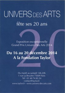 Invitation vernissage 20 ans Univers des Arts